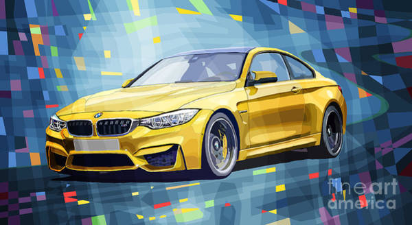 Car Digital Art - Bmw M4 Blue by Yuriy Shevchuk