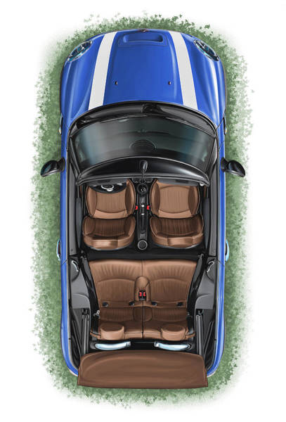 Mini Cooper Wall Art - Digital Art - Bmw Mini Cooper S Cabrio Blue by David Kyte