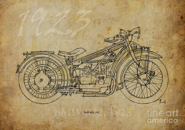 1923 Painting - Bmw R32 1923 by Drawspots Illustrations