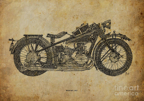 Wall Art - Painting - Bmw R47 1927 by Drawspots Illustrations