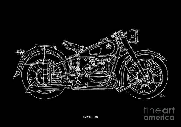 White Background Drawing - Bmw R51 1958 by Drawspots Illustrations