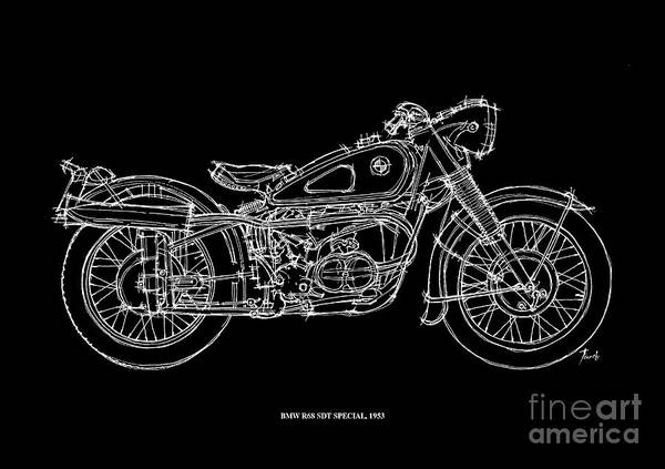 1923 Painting - Bmw R68 Sdt Special 1953 by Drawspots Illustrations