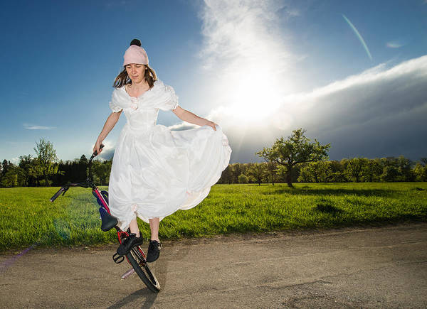 Photograph - Bmx Flatland Bride In White Wedding Dress by Matthias Hauser