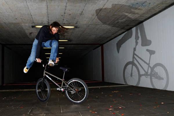 Bmx Photograph - Bmx Flatland Monika Hinz Doing Awesome Trick With Her Bike by Matthias Hauser