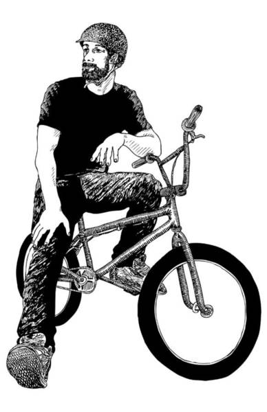 Wall Art - Drawing - Bmx Rider by Karl Addison