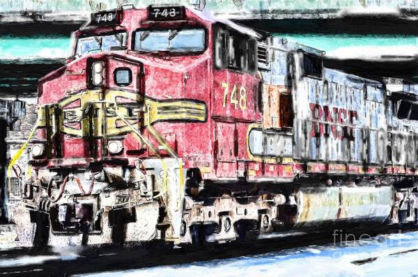 Diesel Trains Painting - Bnsf 748 by Liane Wright