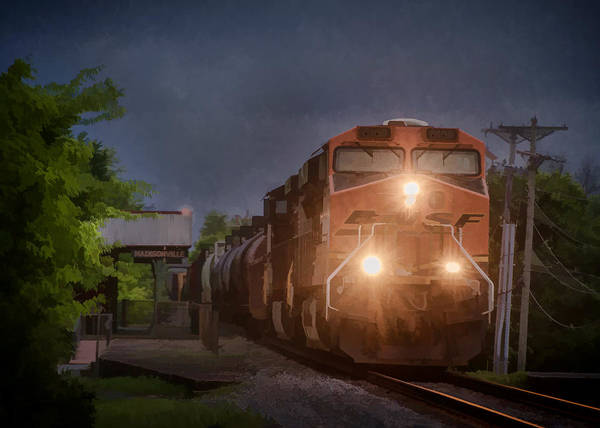 Subdivision Photograph - Bnsf Train Southbound by Jim Pearson