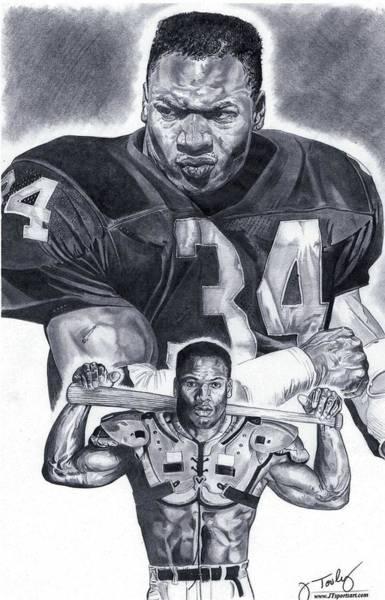 Nfl Drawing - Bo Jackson by Jonathan Tooley