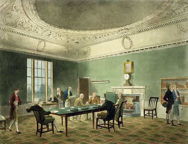 Georgian Drawing - Board Of Trade, From Ackermanns by T. & Pugin, A.C. Rowlandson
