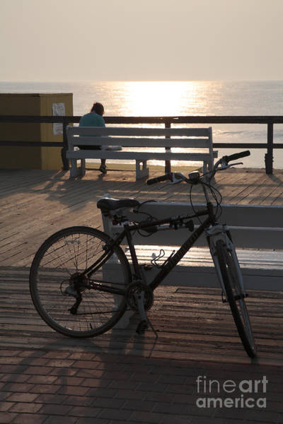 Digital Art - Boardwalk Bicycle At Sunrise With Watercolor Effect by William Kuta