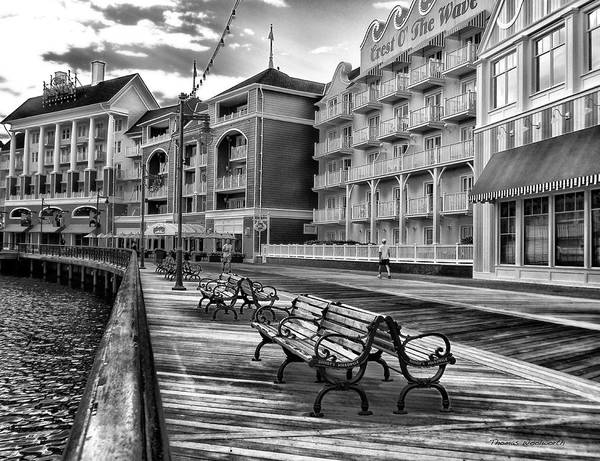 Adventureland Photograph - Boardwalk Early Morning In Black And White Walt Disney World by Thomas Woolworth