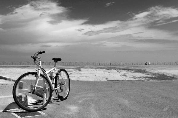 Photograph - Boardwalk View With Bike In Antibes France Black And White by Ben and Raisa Gertsberg
