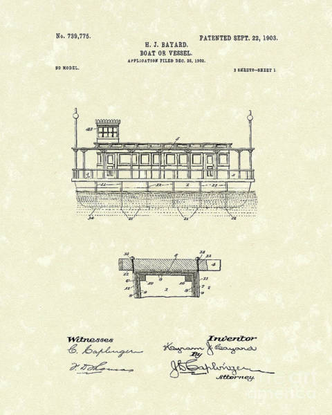 Drawing - Boat 1903 Patent Art by Prior Art Design