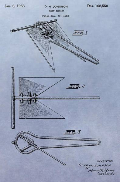 Digital Art - Boat Anchor Patent by Dan Sproul