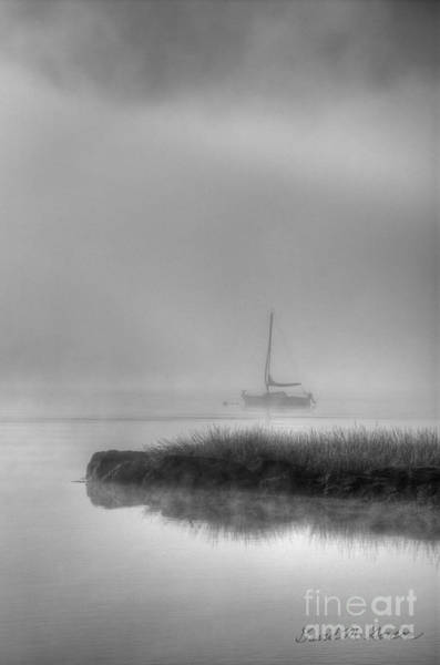 Boat And Morning Fog Art Print
