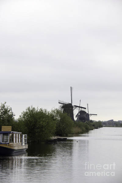 Noord Holland Wall Art - Photograph - Boat And Windmills Kinderdijk by Teresa Mucha