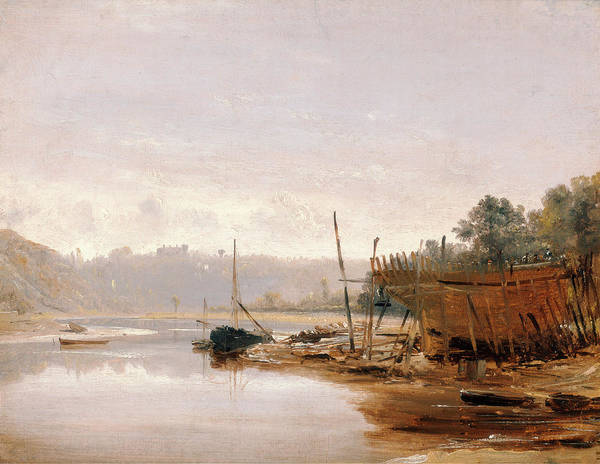 Riverbank Drawing - Boat Building Near Dinan, Brittany, Francis Danby by Litz Collection