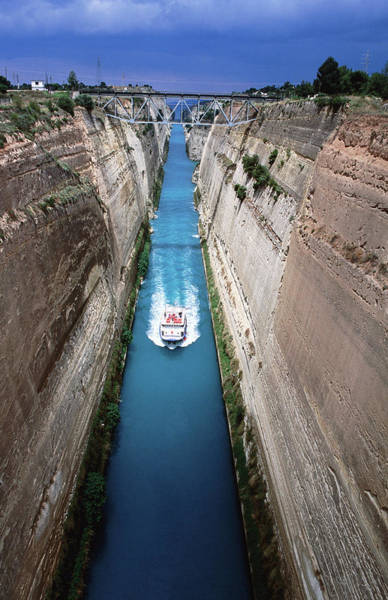 Peloponnese Photograph - Boat Cruising Through Corinth Canal by Paolo Cordelli