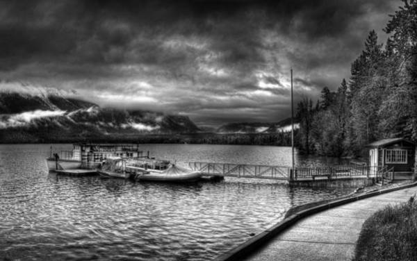 Photograph - Boat Dock At Lake Mcdonald Lodge 2 by Lee Santa