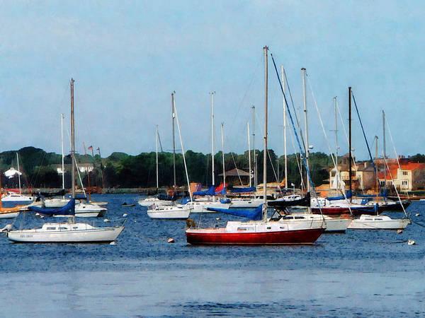 Photograph - Boat - Group Of Sailboats Newport Ri by Susan Savad