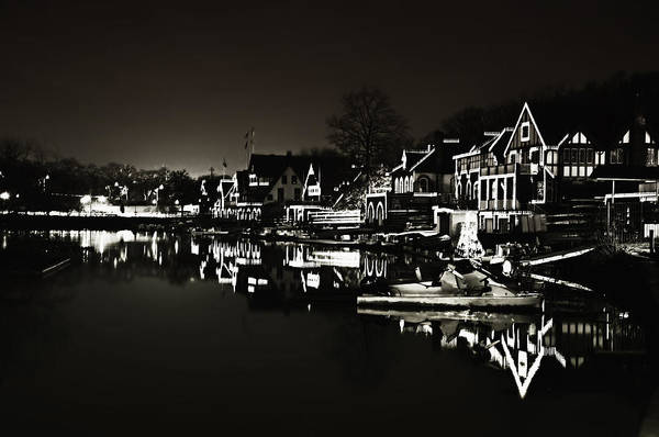 Photograph - Boat House Row - In The Dark Of Night by Bill Cannon