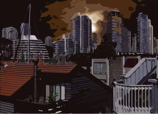 Vancouver Skyline Digital Art - Boat House Skyline Abstract by Jerry Gulbransen