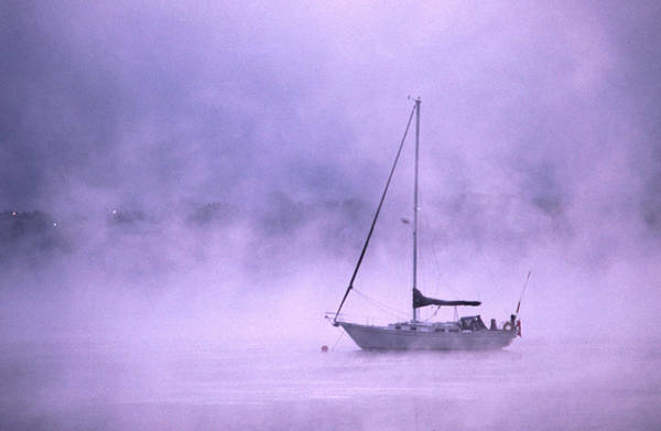 Sailboat Photograph - Boat In Early Morning Fog On Saint John by Ross Barnett