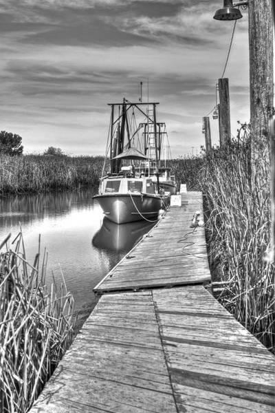 Alviso Photograph - Boat In The Marsh 2 Monochrome   by SC Heffner