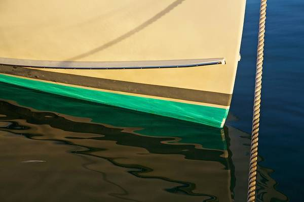 Photograph - Boat Keel Reflection And Rope by Stuart Litoff