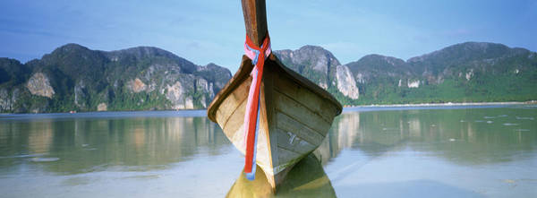 Boat Moored In The Water, Phi Phi Art Print