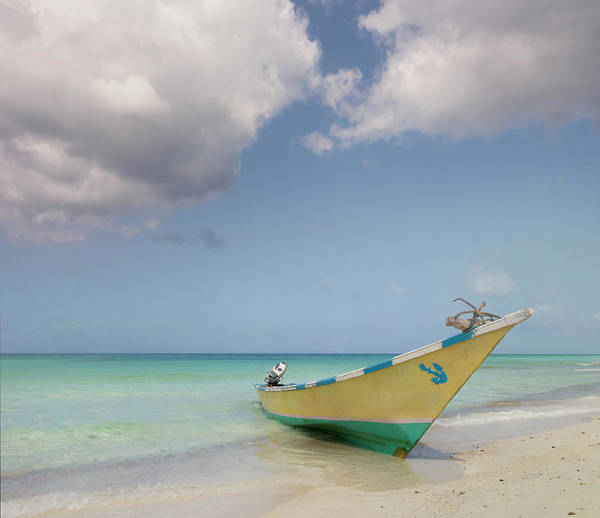 Moored Photograph - Boat Moored On Beach by John M Lund Photography Inc