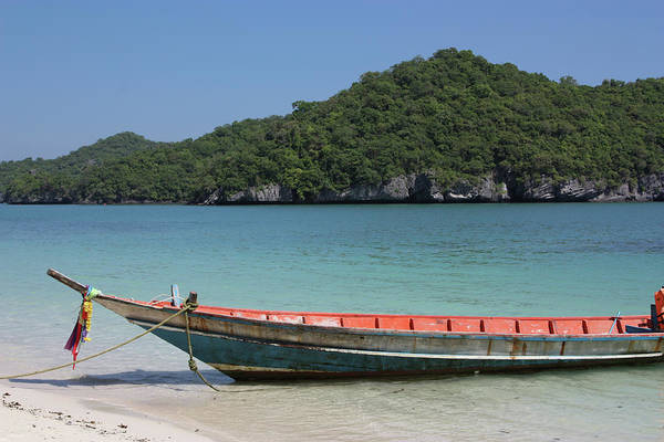 Moored Photograph - Boat Moored On Beach by Kat Payne Photography
