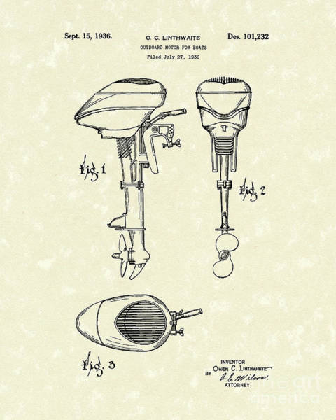 Wall Art - Drawing - Boat Motor 1936 Patent Art  by Prior Art Design