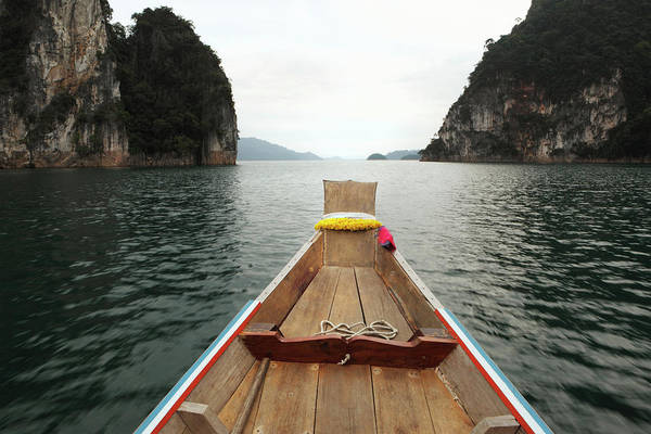 Boat Deck Photograph - Boat Moving Through Khao Sok National by Paul Taylor
