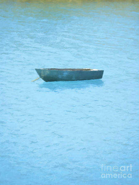 Watering Wall Art - Painting - Boat On Blue Lake by Pixel Chimp