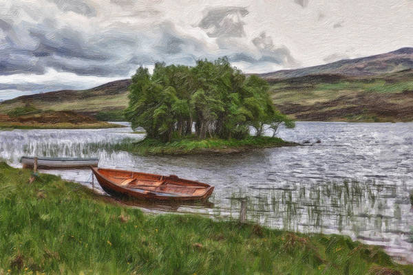 Boat On Lake Bank 1929 Art Print