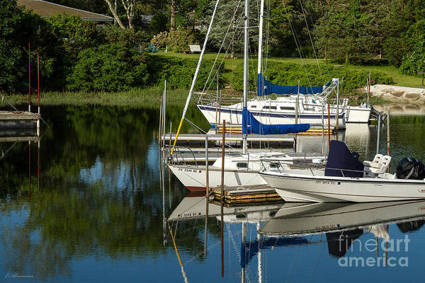 Photograph - Boat Reflections In Cape Cod Hen Cove by Eleanor Abramson