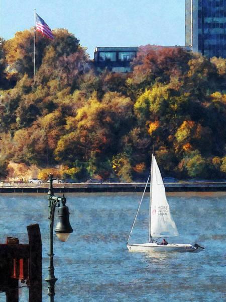 Photograph - Boat - Sailboat Near Chelsea Pier by Susan Savad