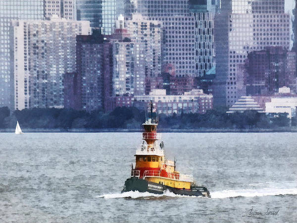 Photograph - Boat - Tugboat By Manhattan Skyline by Susan Savad