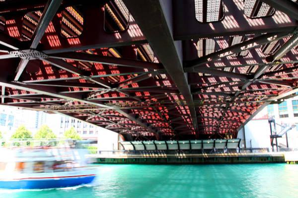 Boat Under Steel Bridge Art Print