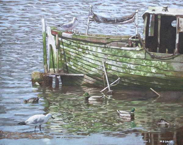 Wall Art - Painting - Boat Wreck With Sea Birds by Martin Davey