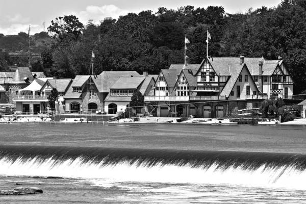 Racing Shell Photograph - Boathouse Row - Bw by Lou Ford