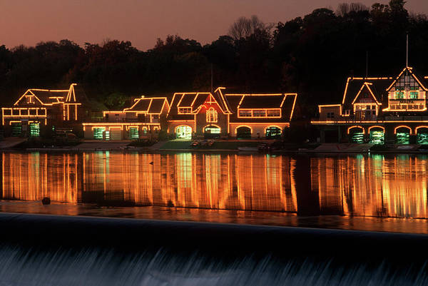 Spillway Photograph - Boathouse Row On Schuykill River by Panoramic Images