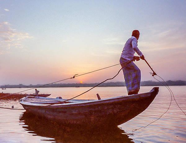Boatman On The Ganges Art Print