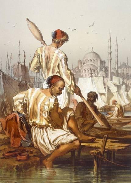 Empire Drawing - Boatmen, 1865 by Amadeo Preziosi