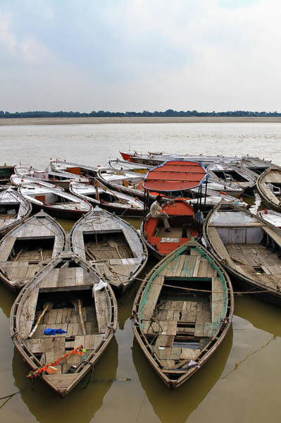 Ganges River Photograph - Boats Along The Ganges River In by Nisa And Ulli Maier Photography