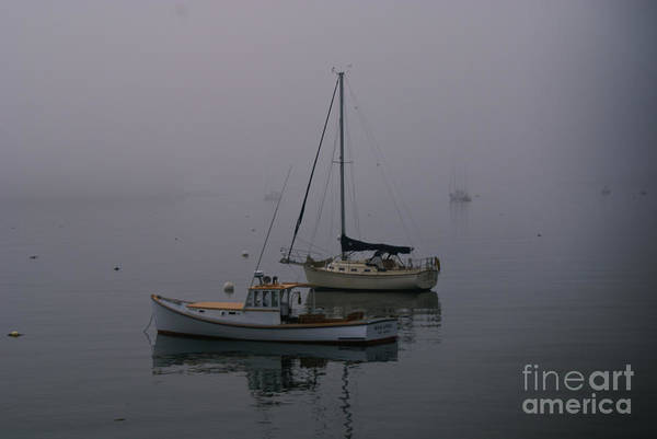Photograph - Boats Anchored In The Fog. by New England Photography