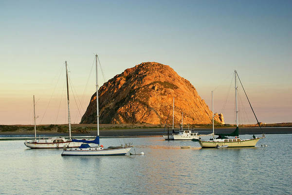 Boulevard Photograph - Boats Anchored Near Morro Rock At by Witold Skrypczak