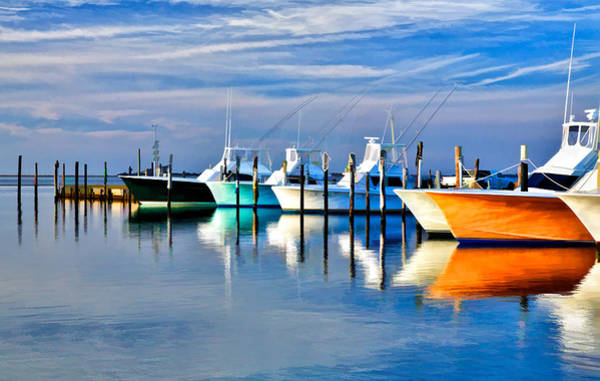 Outer Banks Painting - Boats At Oregon Inlet Outer Banks II by Dan Carmichael