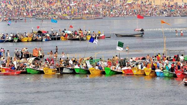 Photograph - Boats At The Sangam - Kumbhla Mela - Allahabad India by Kim Bemis